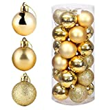 POFET 24 bolas de árbol de Navidad doradas de 4 cm para decoración de Navidad, festival, fiesta, jardín