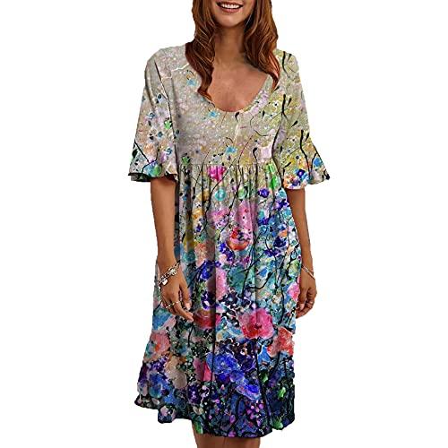 Falda Estampada Multicolor del Vestido De La Manga del Cuello Redondo De Las Nuevas Mujeres