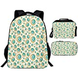 Backpack Set 3 Piece School Bag Back to School for TeenagersGeometric Circle Trippy