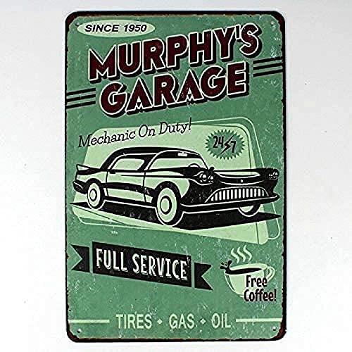 YY-one Murphy''s Garage Full Service Cartel de metal para decoración de pared de café, bar, pub, cerveza, 8 x 12 pulgadas