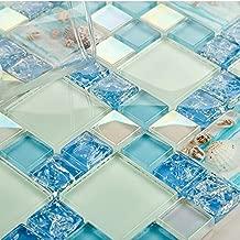 Hominter 5-Sheets Blue Cracked Mosaic Tile Kitchen Backsplash, Resin Shell Tile Beach Style House, Iridescent White Glass Bathroom Wall Tiles GW3BLY114