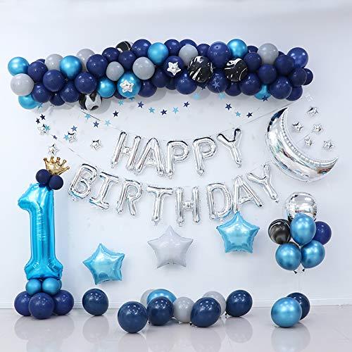 JSJJAEA Globo numérico decoración de fiesta de cumpleaños para niños, kit de globo azul, guirnalda de globos plateados, luna y cumpleaños, decoración perfecta (color: juego A)