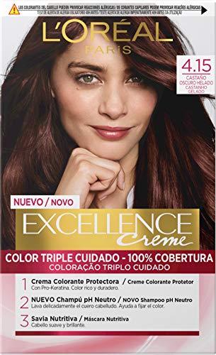 L'Oréal Paris Excellence - Crema Colorante Permanente Triple Cuidado con Pro-Keratina y Savia Nutritiva, Tono 4.15 Castaño Oscuro Helado