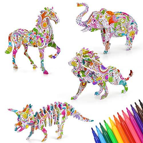 Niñas Niños regalos de la edad 7 8 9 10 11, DIY 3D-Puzzles Edad niños y regalos de cumpleaños 6-12 Artes y manualidades Juguetes para los 6-10 años de edad Niño Niña pintar determina Presentes