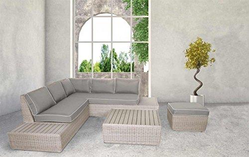 lifestyle4living Lounge Gartenmöbel Set aus Polyrattan in grau. Gartenbank inkl. Sitzauflagen und Polywood, wetterfest. Ideal für Garten und Terrasse.
