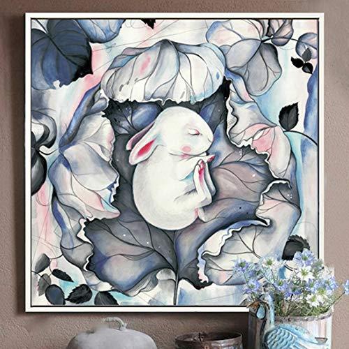 tzxdbh 100% handgeschilderde abstracte konijnenkunst olieverfschilderij op canvas muurkunst wandversiering schilderij voor woonkamer wooncultuur No frame 85 x 85 cm.