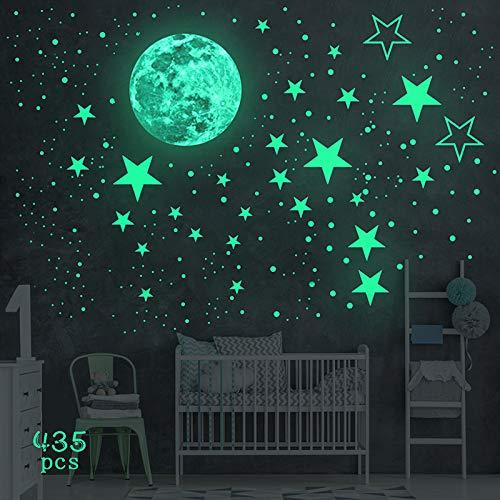 yotame Leuchtsticker Wandtattoo Wandsticker, 435 Stück Leuchtaufkleber Sternenhimmel Leuchtsterne Selbstklebend und Mond Wanddeko Aufkleber, für Kinderzimmer, Jungen Mädchen Schlafzimmer
