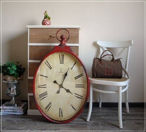 Große Wanduhr im Taschenuhr Design Rot Krakelee