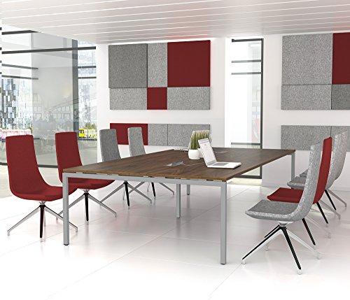 Weber Büroleben GmbH NOVA Konferenztisch 320x164cm Nussbaum mit ELEKTRIFIZIERUNG Besprechungstisch Tisch, Gestellfarbe:Silber