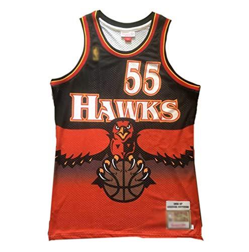 WWSC Jersey # 55 Dikembe Mutombo Fan Basketball Trikot, Hawks Retro Version Mesh Weste T-Shirt Präzise Stickerei Mantel Jungen für Jungen schwarz rot-A_M_Festival Party Geschenk