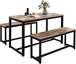 Modern 3PCS Dining Table Set Vintage Surface Dining Table Kitchen Table and Bench Indoor & Outdoor Furniture