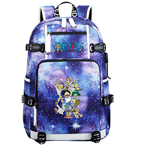 ZZGOO-LL One Piece Monkey·D·Luffy/Roronoa Zoro Anime Backpack Middle Student School Rucksack Daypack for Women/Men with USB-A