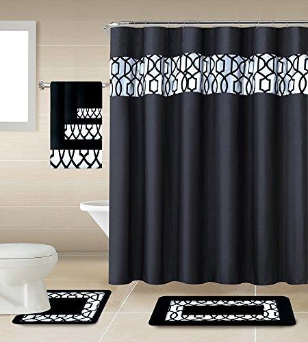 "18 Piece Geometric,Floral Designs Banded Shower Curtain Set. Rug 18"" x 30 Contour 18"" x 18 Curtain 70"" x 72 ,12 Metal Crystal Roller Ball Shower Hooks 3 Pcs Matching Towel Set! (Gate)"