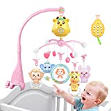 Baby cot Mobile for Pack and Play, Crib Toys with Lights & Music and Rechargeable Mode (Pink)