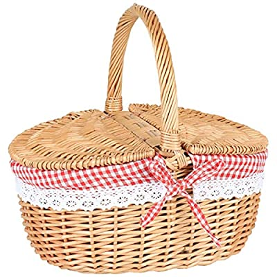 Picnic Baskets Handmade Wicker Wicker Easter Basket Large Storage Basket with Double Lids and Handle Camping Hamper with Washable Lining