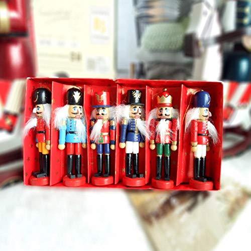 6 Teile/Satz Nussknacker, Europäischen und Amerikanischen Stil Weihnachtsschmuck Soldat/König Form Nussknacker Walnusssoldat Puppe Weihnachtsschmuck Nussknacker Puppen (12,5 cm)