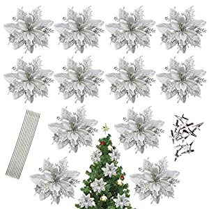 AFANSO 12 Pack Glitter Artificial Poinsettia Flowers Christmas Wreath Christmas Tree Flowers Ornaments with 12 Pcs Green Soft Stings and 12 Pcs Clips (Sliver)