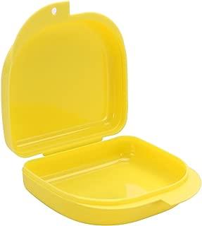 SUPVOX Caja de retención con orificios de ventilación y broches de tapa con bisagras Caja de protección bucal Caja de retención de ortodoncia Dental Contenedor de almacenamiento de prótesis (amarillo)