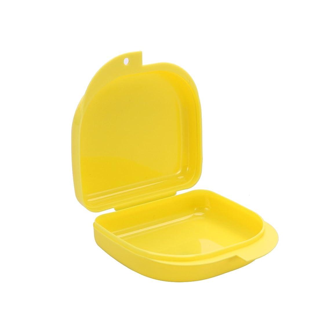 カストディアン買い手図SUPVOX 歯列矯正リテーナケーストラベル義歯マウスガード収納ケースコンテナスナップ付き(黄色)