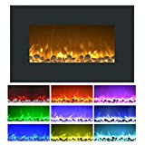36-Inch Electric Fireplace - Wall Mount or Freestanding Floor Stand, 10 Flame Colors, Adjustable Heat, and Remote Control by Lavish Home (Black)