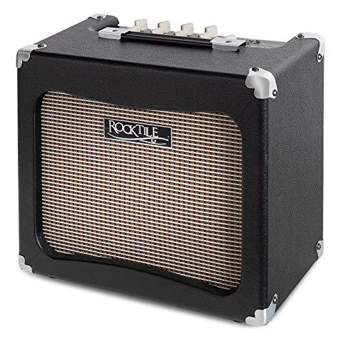 Rocktile GA-15 Carlos Modelling Gitarrenverstärker - Combo Amp mit 11 Verstärker Simulationen - Integriertes Multi Effektgerät und Stimmgerät - Line Out zum Anschluss an eine Gitarrenbox