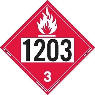 Labelmaster ZVR21203 UN 1203 Flammable Liquid Hazmat Placard, Removable Vinyl (Pack of 25)