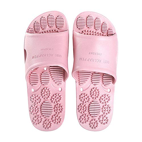 B/H Therapy Massage Shoes,Non-slip soft sole sandals, wear-resistant massage bath home shoes-Skin powder_UK4.5-UK5,Fitness Massage Slippers
