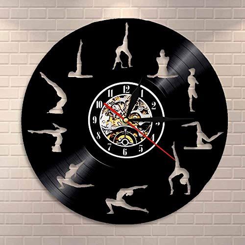 Reloj de pared de vinilo para estudio de yoga, hecho a mano, regalo único, dormitorio, cuarto de niños, decoración de pared