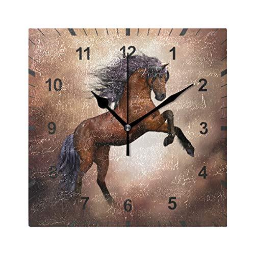 ISAOA - Orologio da parete silenzioso, a forma di cavallo marrone, decorazione artistica per casa, sala da pranzo, soggiorno,...