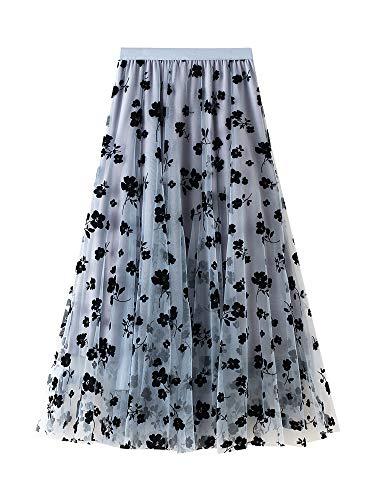 Carolilly - Falda de malla con tutú para mujer, falda con estampado floral de cintura alta elástica