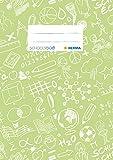HERMA 19422 Heftumschlag DIN A5 SCHOOLYDOO, Hefthülle mit Beschriftungsetikett, aus strapazierfähiger und abwischbarer Polypropylen-Folie, Heftschoner für Schulhefte, hellgrün