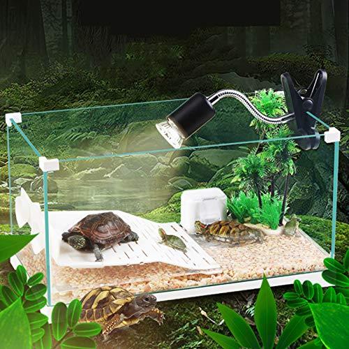 MYYYYI Glasschildkröten-Aquarium mit hochauflösender transparenter ökologischer Filter mit Terrarium-Halogen-Back-beleuchtet Turtle-Tank 420C
