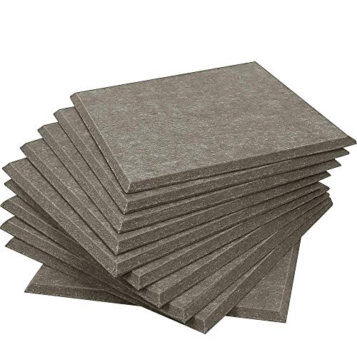 DEKIRU Upgraded 12 Pack Acoustic Panels Sound Proofing Padding Studio Foam, 12 X 12 X 0.4 Inches Bevled Edge Soundproofing Panels, Great for Acoustic Treatment and Wall Decoration (Brown)