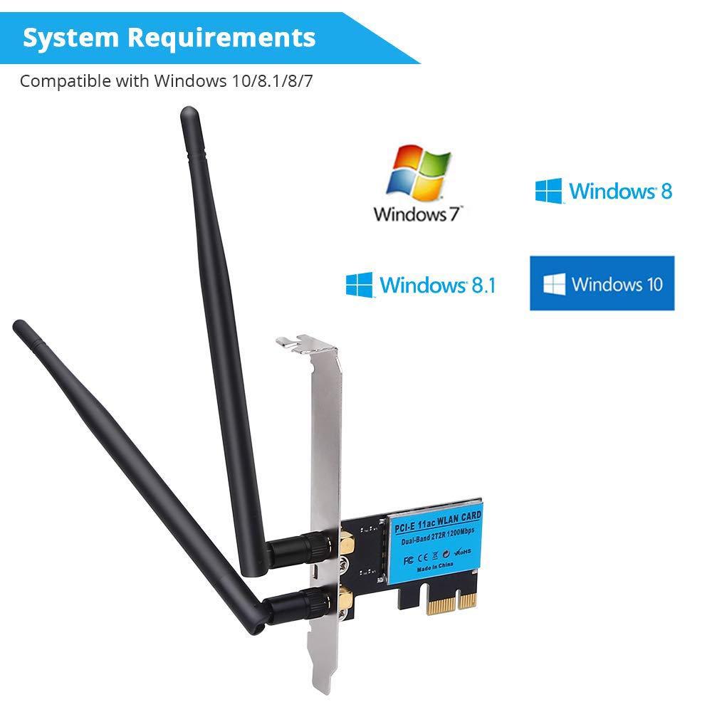 gessing Adaptador de Red inalámbrica PCI-E WiFi de Doble Banda 2.4G/5G de 1200 Mbps para computadora de Escritorio: Amazon.es: Hogar