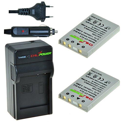 Chili Power EN-EL5Kit: 2X batteria + caricabatteria da auto per NIKON COOLPIX P3, P4, P80, P90, P100, P500, P520, P5000, P5100, P6000, S10, 3700, 4200, 5200, 5900, 7900