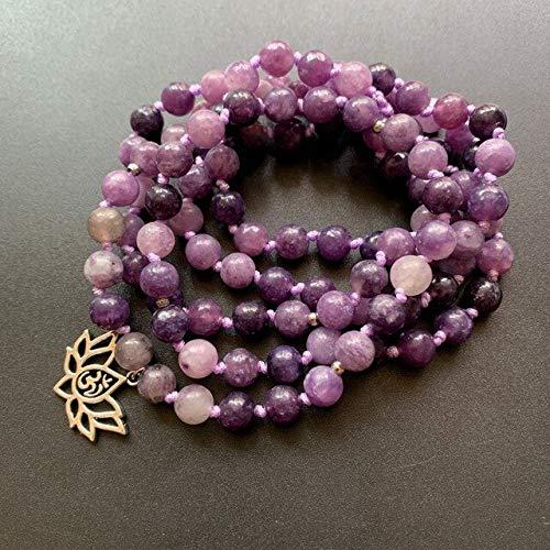 TONGTONG Cuentas De Lepidolita De Cristal Púrpura Mala Pulsera Collar De Piedra Natural Meditación Lotus Om Earth Ch Cuentas Anudadas Artesanías