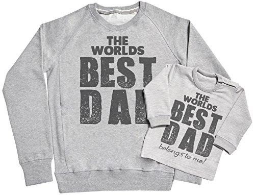 SR - The Worlds Best Dad Belongs to Me Ensemble de pour Père et bébé - dans Une boîte Cadeau - Père Sweatshirt et Sweatshirt bébé Ensemble - Gris, X-Large & 18-24 Months