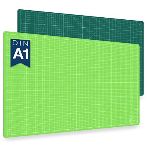 Guss & Mason tapis de découpe auto-cicatrisant A1, vert, rose ou bleu. Parfait pour la couture, le bricolage et le patchwork. 90 x 60 cm, double face indications en cm et pouces