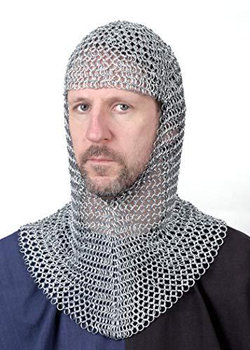Kettenhaube, V-Auschnitt, ID9mm, verzinkt Mittelalter LARP Wikinger Fasching Kettenhemd Kettenringe chainmail coif