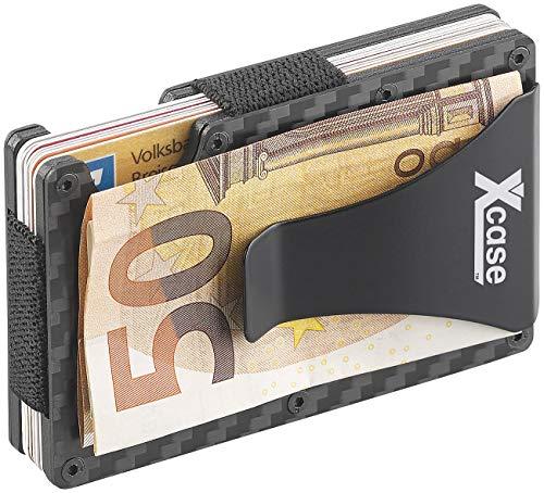 Xcase Kreditkartenetui Carbon: RFID-Kartenetui aus Carbon, Schutz für 15 Chip-Karten, mit Geldklammer (Kreditkartenetui mit Geldklammer)