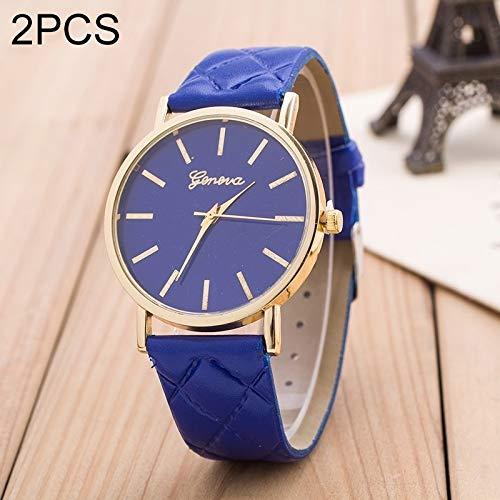 Uhren 2 PCS Alltag Einfach Sofa Leder-Quarz-Paar-Uhr (rot) Asun (Color : Blue)
