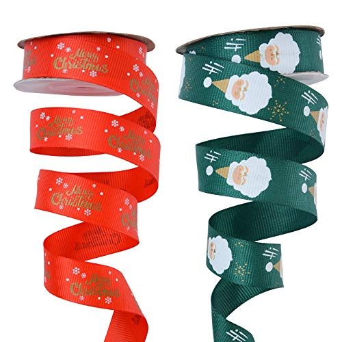 2 Rolls Christmas Ribbons Red Green Santa Claus DIY Xmas Design Wrapping Ribbons for Gift Bows Wrapping Fall Crafts Decoration