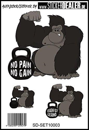 Unbekannt Aufkleber-Set Pain No Gain Bodybuilding Kraftsport Fitness Sticker Crossfit Gorilla Fun