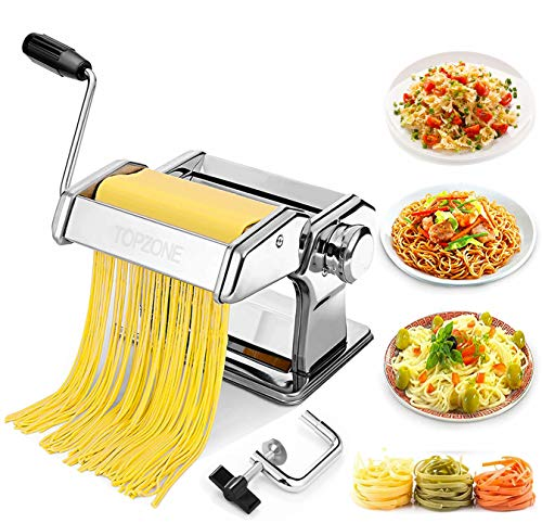 Nudelmaschine, TOPZONE Manuelle Nudelmaschine mit Handkurbel und Teigausstecheraufsatz, 7 einstellbare Nudelwalzeinstellungen für handgemachte frische Pasta, Spaghetti