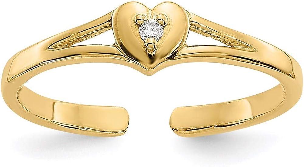 14k Yellow Gold Diamond Heart Toe Ring
