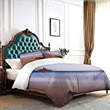 Hiiiman Bed Bedding Shipwreck on Beach at Dusk in South Australian Lands by Sea Shore Navy Nautical California King Size W100 INCH x L90 INCH with 2 Pillow Sham