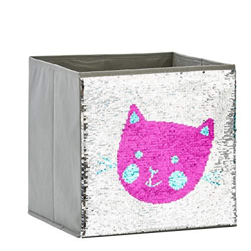 Zauberkiste mit Wendepailetten | Katze | 32x32x32cm |Spielzeugkiste | Aufbewahrungsbox | Kiste | Store It