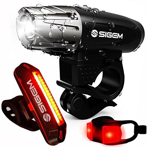 SIGEM Bike Light Set, (3 Pack) Ultra Bright, USB Rechargeable, LED Front Headlight, Rear Taillight and Helmet Light. Bicycle Head & Tail Lights are Waterproof, Easy to Install.