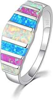 Women's Opal Rings,Create White Blue Pink Fire Opal Silver Plated Gemstone Ring Size 5-13