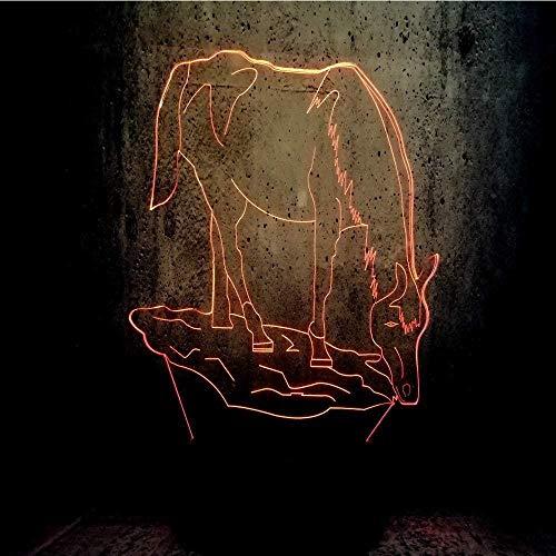 Caballo animal mesa junto a la cama base de casa bebé niños visión 3D luz nocturna creativa regalo de vacaciones